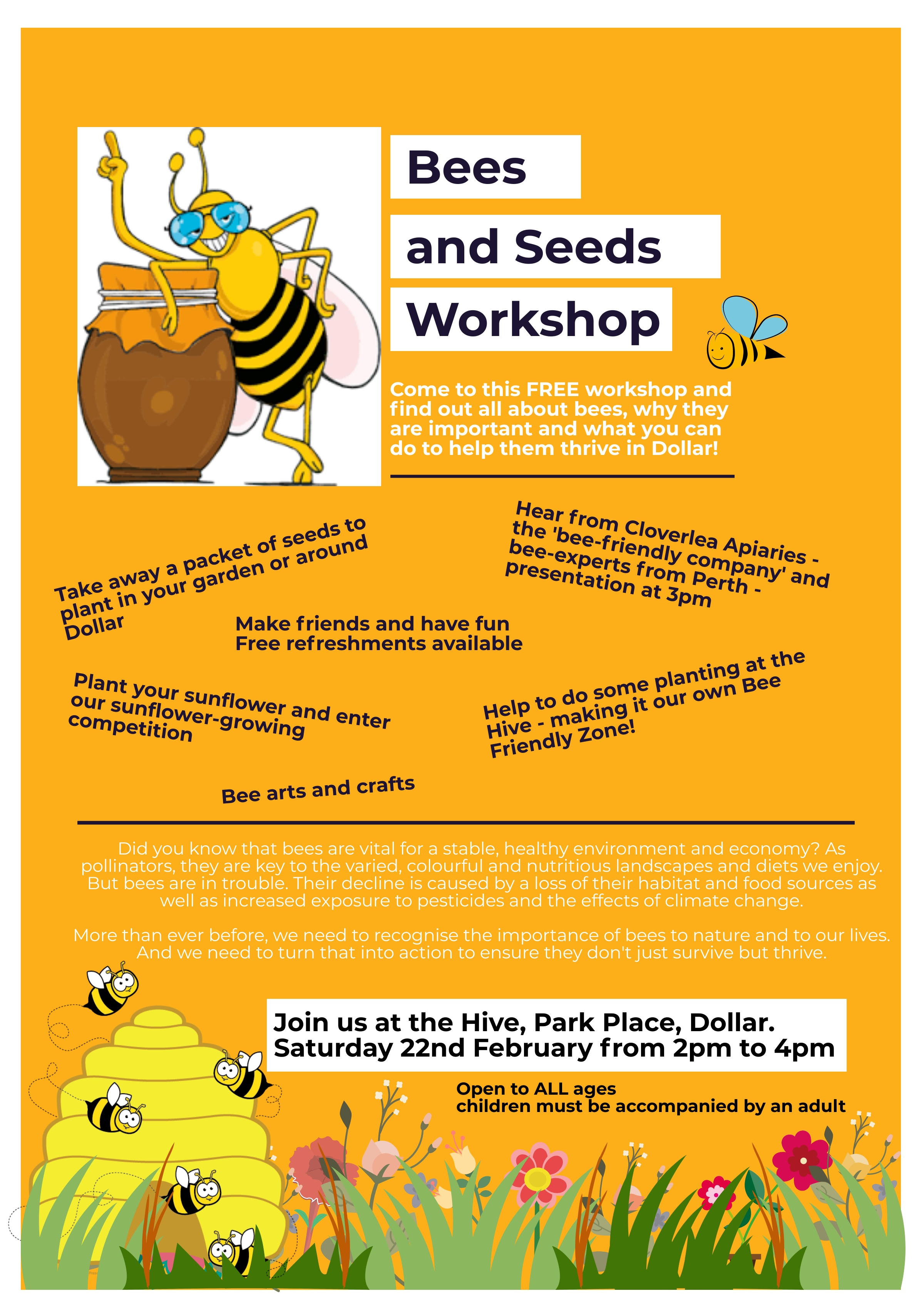 bee and seeds poster